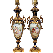 "SALE Magnificent 31"" Sevres Hand painted Porcelain Lamps"