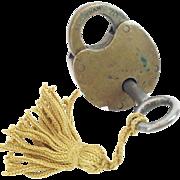 SALE Antique  Brass Lock & Key