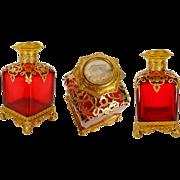 "SALE Grand Tour Ruby Scent Bottle Miniature Top ""DRIPPING GILT ORMOLU"""