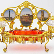 "SALE Palais Royal Inkwell Eglomise Desk Set ""FIVE EGLOMISE S"""