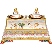 """7 ¾"""" Antique Capodimonte Double Inkwell  """"Magnificent Shape & Size"""""""