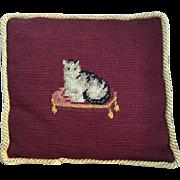 SALE Darling Antique Little SASSY CAT Needlepoint Pillow