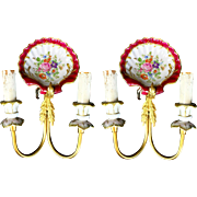 REDUCED PAIR  Antique Brass and Hand painted Porcelain  Wall  Sconces #1