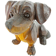 SALE Precious Antique Carved Dog with Glass Eyes.