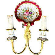 """REDUCED Antique Brass and Hand painted Porcelain Wall Sconces  """" Beautiful PAIR""""  #2"""
