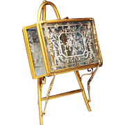 """REDUCED RARE Antique French Vitrine Hinged Casket """" Easel Back TABLE TOP VITRINE"""""""