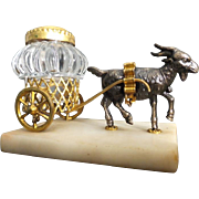 """REDUCED Grand Tour Goat Inkwell Cart 'EGLOMISE TOP"""""""
