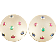 """SALE 14KARAT  TRIANON  Frosted Crystal Earrings """" Emeralds, Sapphires & Rubies """""""