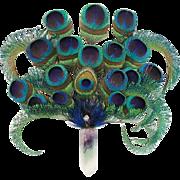 "SALE Peacock Feathers With  Quartz Handle ""MAGNIFICENT"""