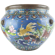 """SALE Antique 20"""" Chinese Cloisonne Cachepots    """"BIG!  Fish & More Fish"""""""