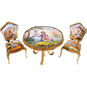 """REDUCED Antique AUSTRIA Enamel Table  and Chairs """"PAIR"""""""
