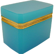"""REDUCED Antique French Turquoise Blue Opaline Casket Hinged Box """" BEAUTIFUL MOUNTS"""""""