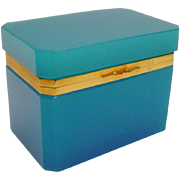 REDUCED BIG Antique French Turquoise Opaline Casket Hinged Box
