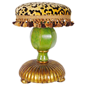 """SALE Fabulous Vintage Estate Leopard, Faux Marble  Stools"""" PAIR"""" Carve Wood"""