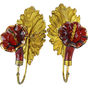 "SALE Antique Ruby Glass Ormolu Drapery, Curtain Tie Backs ""BIG Gilt Leaves & Glorious Rub"