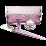"""SALE Antique French Lavender & Silver Desk Set """"Letter Holder, Paper Knife, Seal, & Ink P"""
