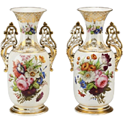 "SALE Antique Napoleon III Style Porcelain Vases  ""GRANDEST Hand-painted  Flowers"""