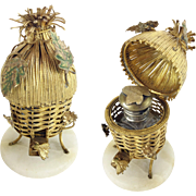 "SOLD LAYAWAY  SORRY I SOLD   Palais Royal Scent Caddy."" Gilt Ormolu  Thatch Hut """