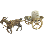 """SALE Palais Royal Goat Cart Thimble Holder with Carved Bone Thimble """"DARLING & SPECIAL"""""""