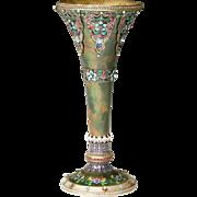 "SALE GRANDEST Austrian or Russian Jeweled Enamel Vase  ""EXQUISITE & RARE """
