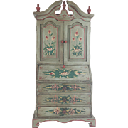 "SALE Vintage Estate Miniature Secretary Bookcase ""PAINTED & FLOWERS"""