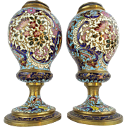"SALE Antique French Champlevé Urns Lamps "" VERY FINE COLORS"""