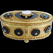 Magnificent Antique French MOREAU  Oval Gilt Bronze Box