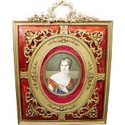 "SALE Antique 10"" Hand Painted Portrait Miniature  ""Red Enamel Bronze Jeweled Frame"""