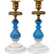 "Antique French Opaline Bronze Candlesticks "" Beautiful Blue & White Opaline w Bronze Moun"