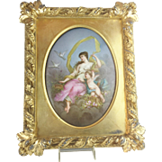 "REDUCED French ""Sevres Styles"" Hand Painted Porcelain Plaque Framed ""A 1880 MASTERPIE"