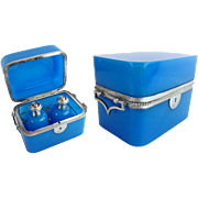 "REDUCED Antique French Blue Opaline Double Handle Scent Casket  Box "" TWO SCENT BOTTLES"""