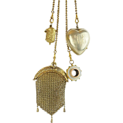 "REDUCED 1889 Gilt Silver Jeweled Chatelaine ""Jeweled Belt Clip, Purse, Thimble Holder. He"