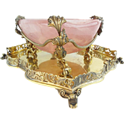"REDUCED Antique  Pink Quartz Bowl w Grandest Figural Gilt Silver ""CAVIAR  SWEETMEAT"""