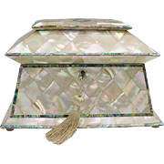 REDUCED Antique Mother of Pearl Tea Caddy 'THE BEST""
