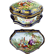 "REDUCED Antique French Porcelain Artist Signed Casket Hinged  Box  "" Sevres Style & Magni"