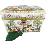 """9 ½"""" Antique Capodimonte Casket Hinged Box """"THE BEST! """" Putti, Dogs, Horses, Boar"""