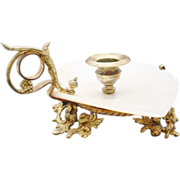 SALE Antique French Mother of Pearl Candle Holder.