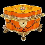 """Antique Bohemian Porcelain Casket Hinged Box """" Exquisite Shape & Figural Double Handles """""""