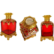 """REDUCED Antique French Ruby Scent Bottle Miniature Top """"MAGNIFICENT & BIG"""""""