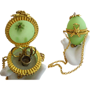 """REDUCED 1860 French Green Opaline Etui """"5 PIECES"""""""