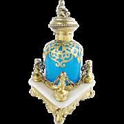 "Antique French  Blue Opaline Scent Bottle ""Regal Alabaster Footed Plateau"""