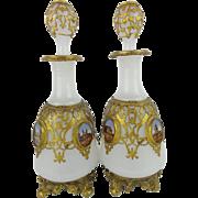 "REDUCED PAIR Napoleon III   White Opaline ""EGLOMISE"" Perfume "" Beautiful Gilt Ormolu"""