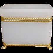 "Antique French  White Opaline Casket  ""GRANDEST PAW FEET & MOUNTS"""
