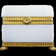 "REDUCED Antique French White Bulle de Savon Opaline Casket Hinged Box ""PAW FEET"""