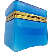 REDUCED Italian Murano Blue Hinged Box Casket  'TERFFIC BLUE""