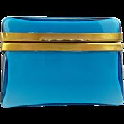 REDUCED Pretty Italian Murano Blue Hinged Box Casket Hinged Box