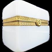 "Antique French Bulle de Savon Opaline Casket Hinged Box ""GILT FLOWER CLASP"""