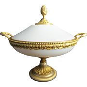 "REDUCED 13 ½"" Antique French Covered White Opaline Bowl "" Magnificent Dore' Bronze D"