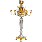 """REDUCED Glorious 24"""" French Bronze Crystal   Seven Light Candelabrum"""