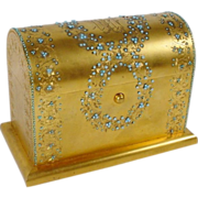 SOLD Antique  French Jeweled Dore' Bronze Letter Casket Hinged Box
